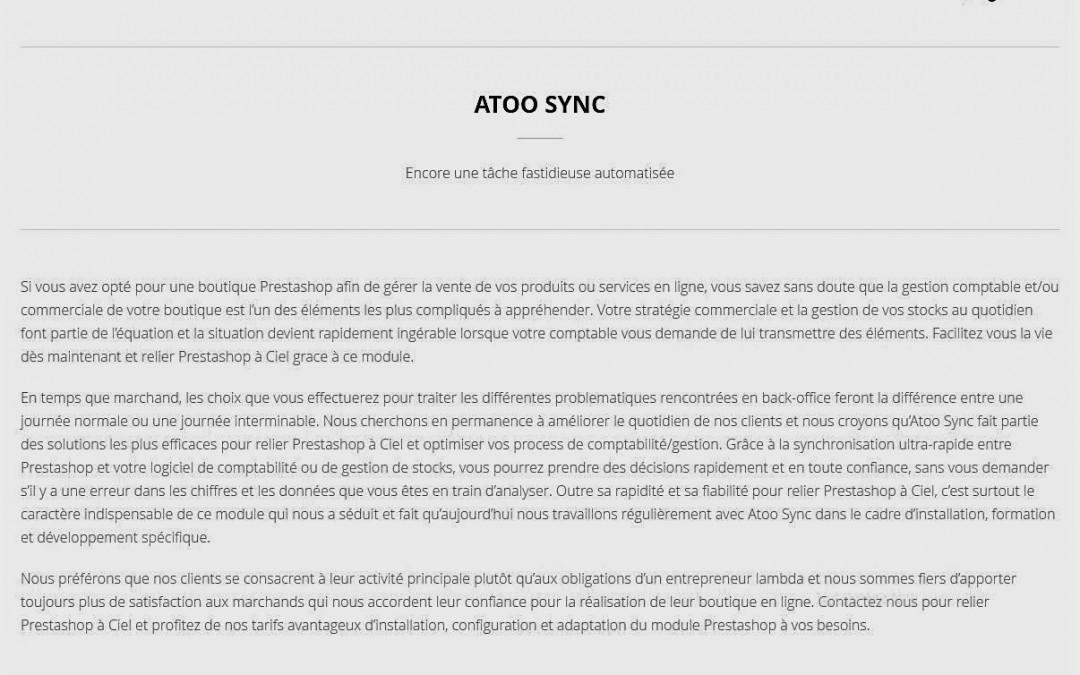 Relier PrestaShop à Ciel grâce à Atoo-Sync. Merci Ixycom !