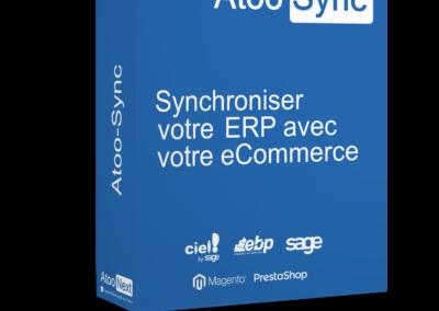 Connecteur eCommerce Atoo-Sync. Cette passerelle permet de synchroniser un ERP Sage - Ciel - EBP avec un CMS PrestaShop WooCommerce Magento