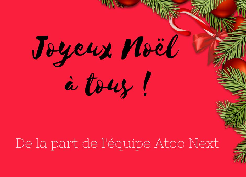 Joyeuses fêtes de la part de l'équipe Atoo Next ! Editeurs de logiciels connecteurs entre une boutique e-commerce PrestaShop et votre ERP (Sage, Ciel, EBP)