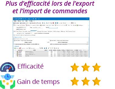 fonctionnalité efficacité import export commandes